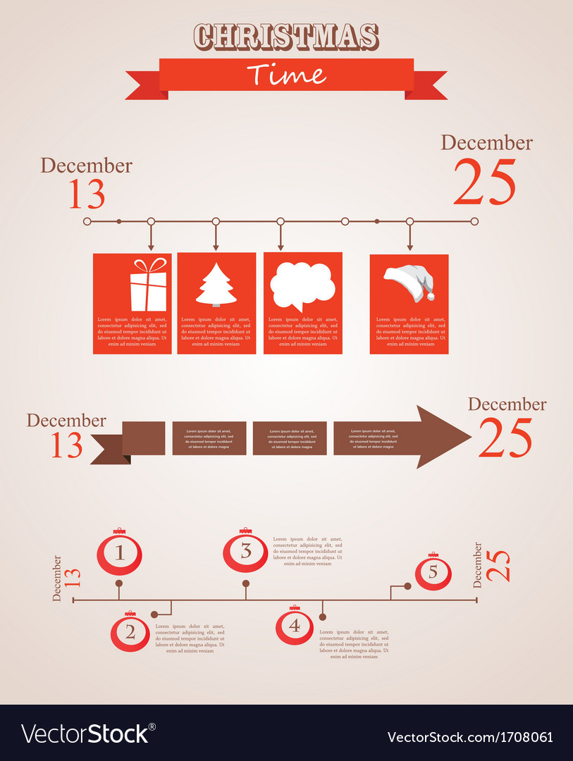 Three christmas season time line templates with vector | Price: 1 Credit (USD $1)