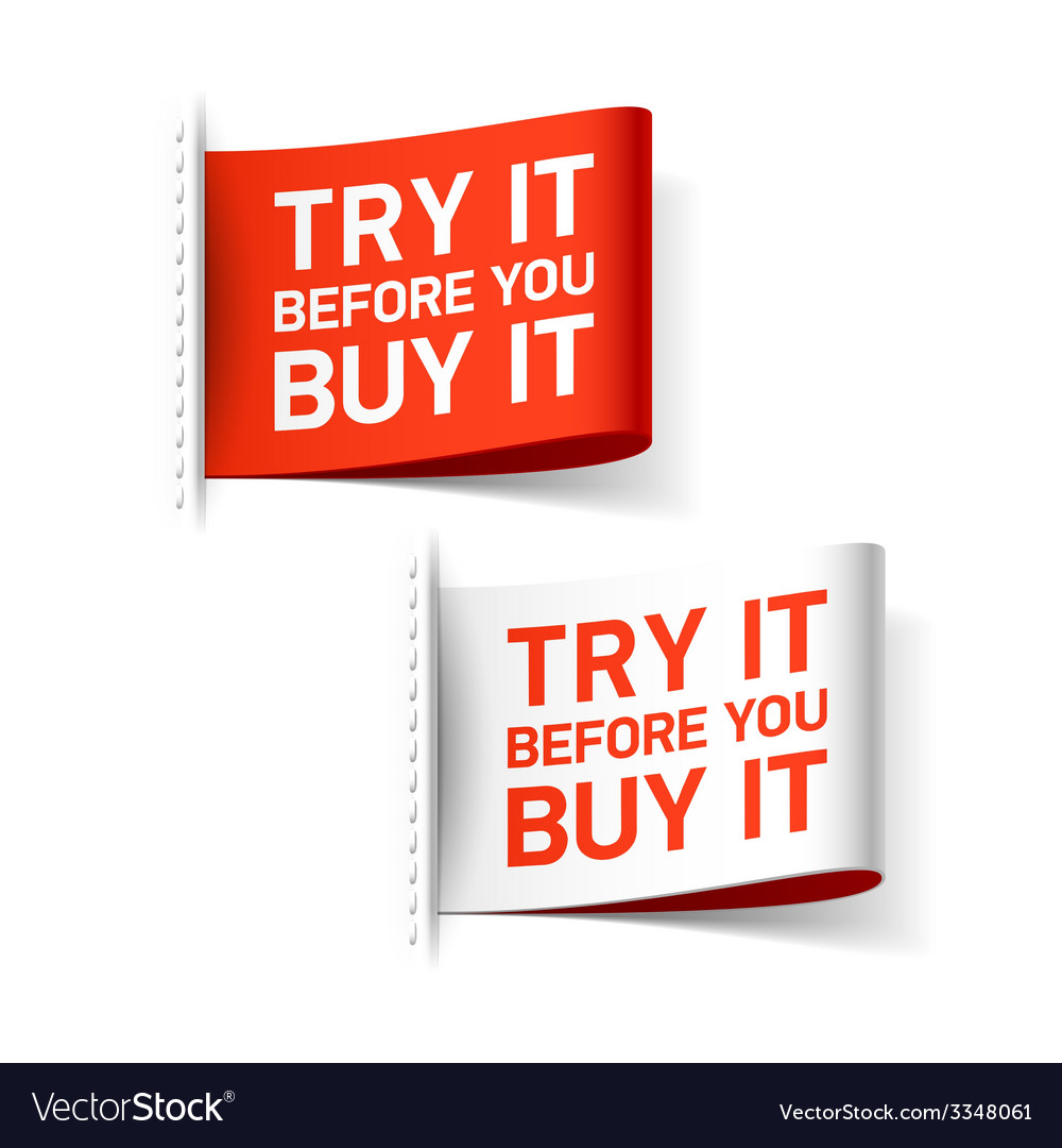Try it before you buy it label vector | Price: 1 Credit (USD $1)