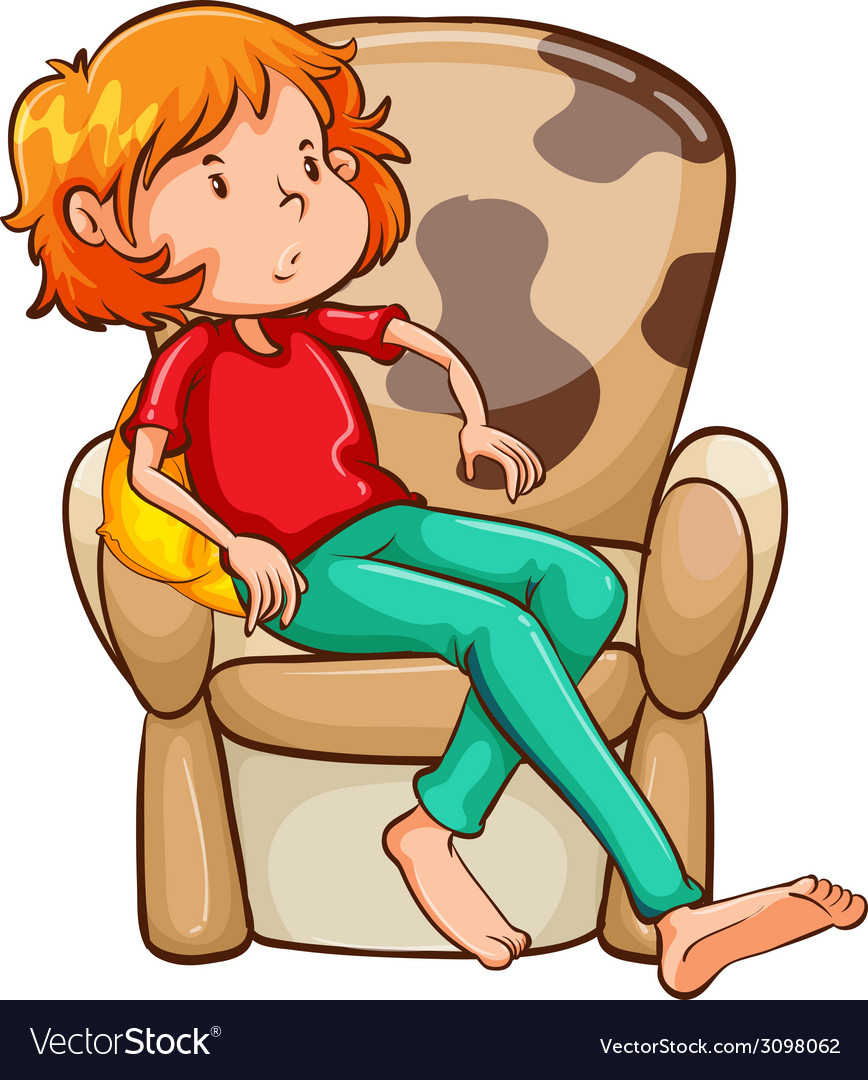 A tired girl at the chair vector | Price: 1 Credit (USD $1)