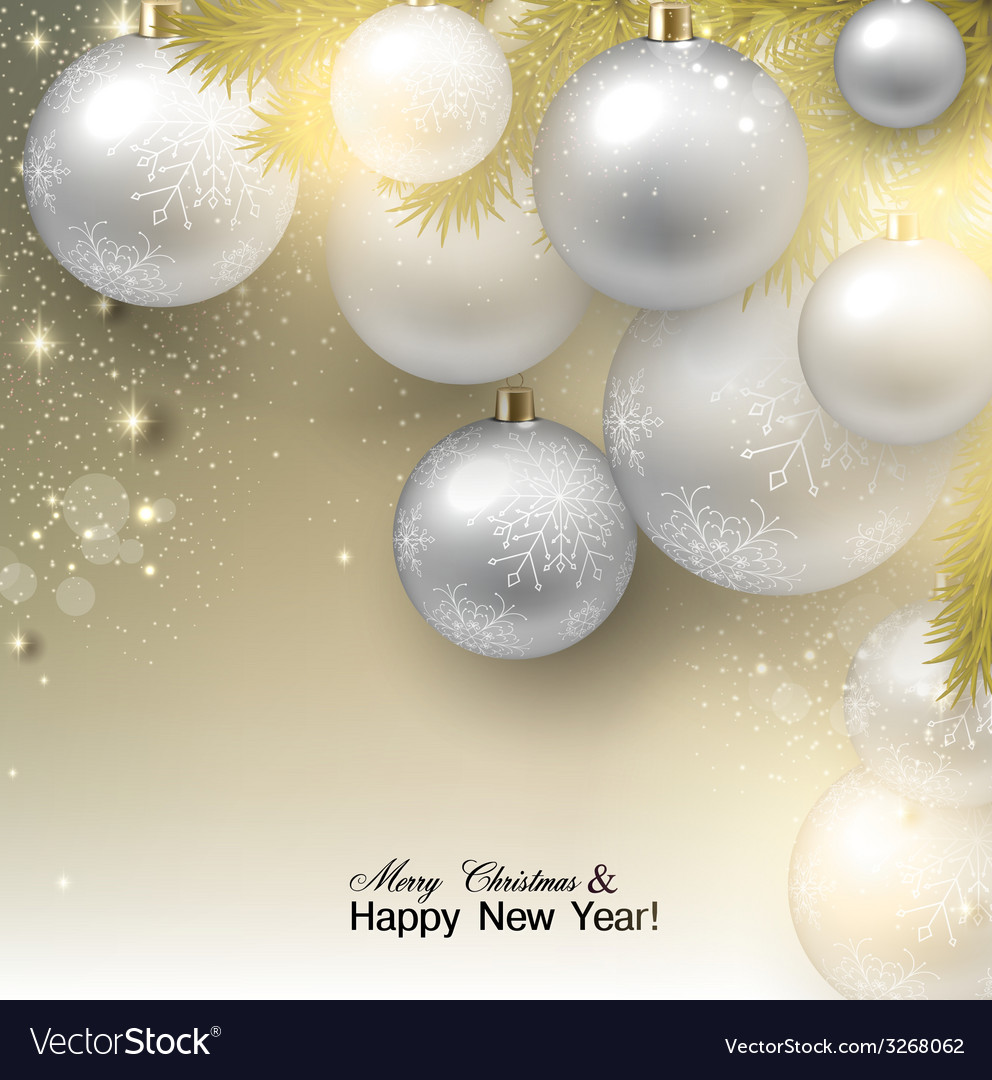 Christmas background with balls white xmas baubles vector | Price: 1 Credit (USD $1)