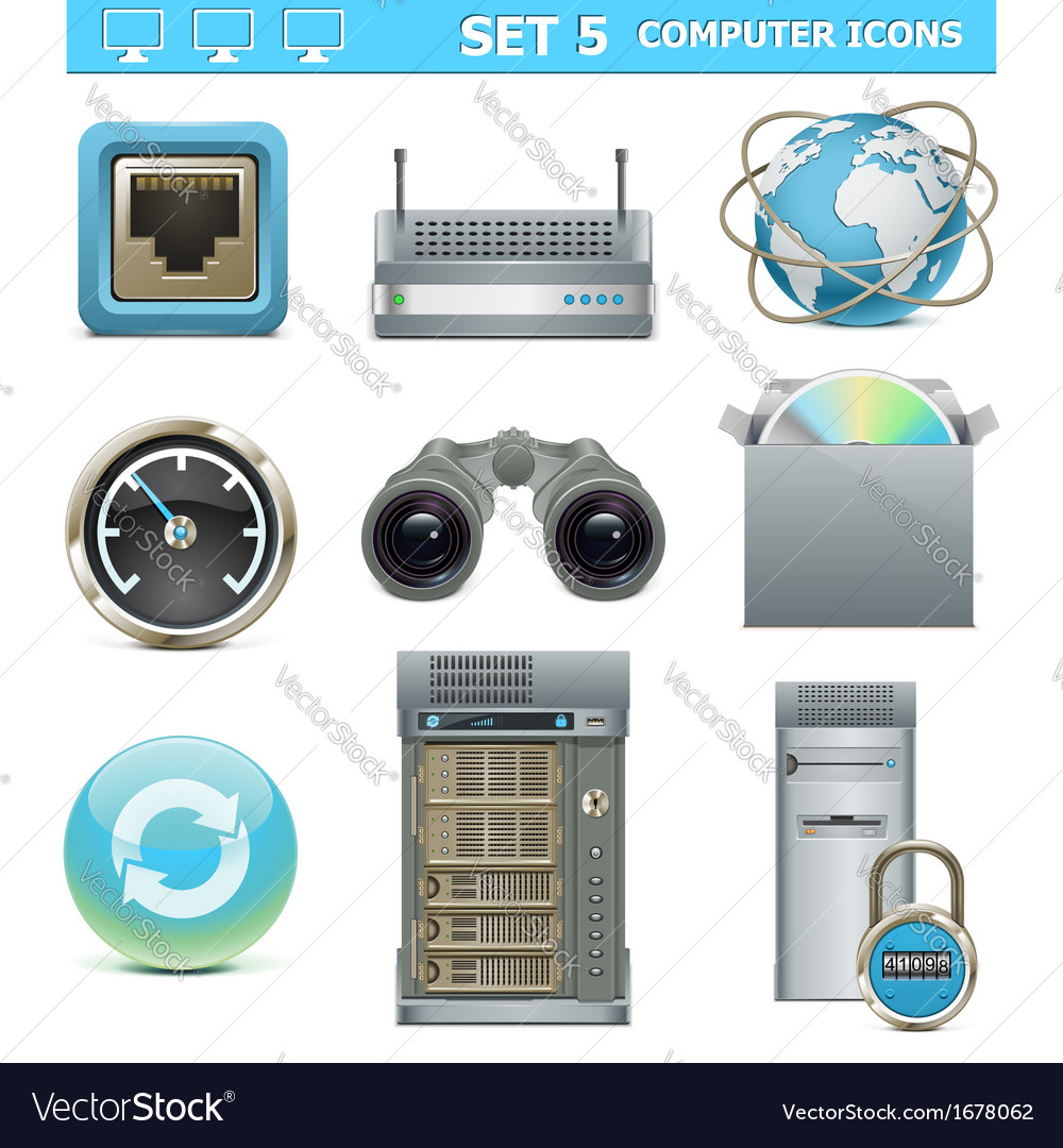 Computer icons set 5 vector