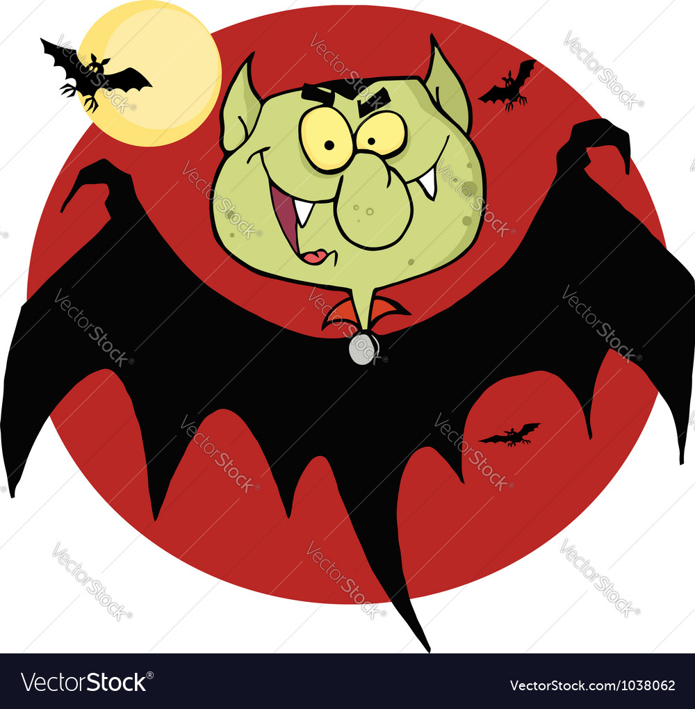 Flying vampire by bats and a full moon vector | Price: 1 Credit (USD $1)