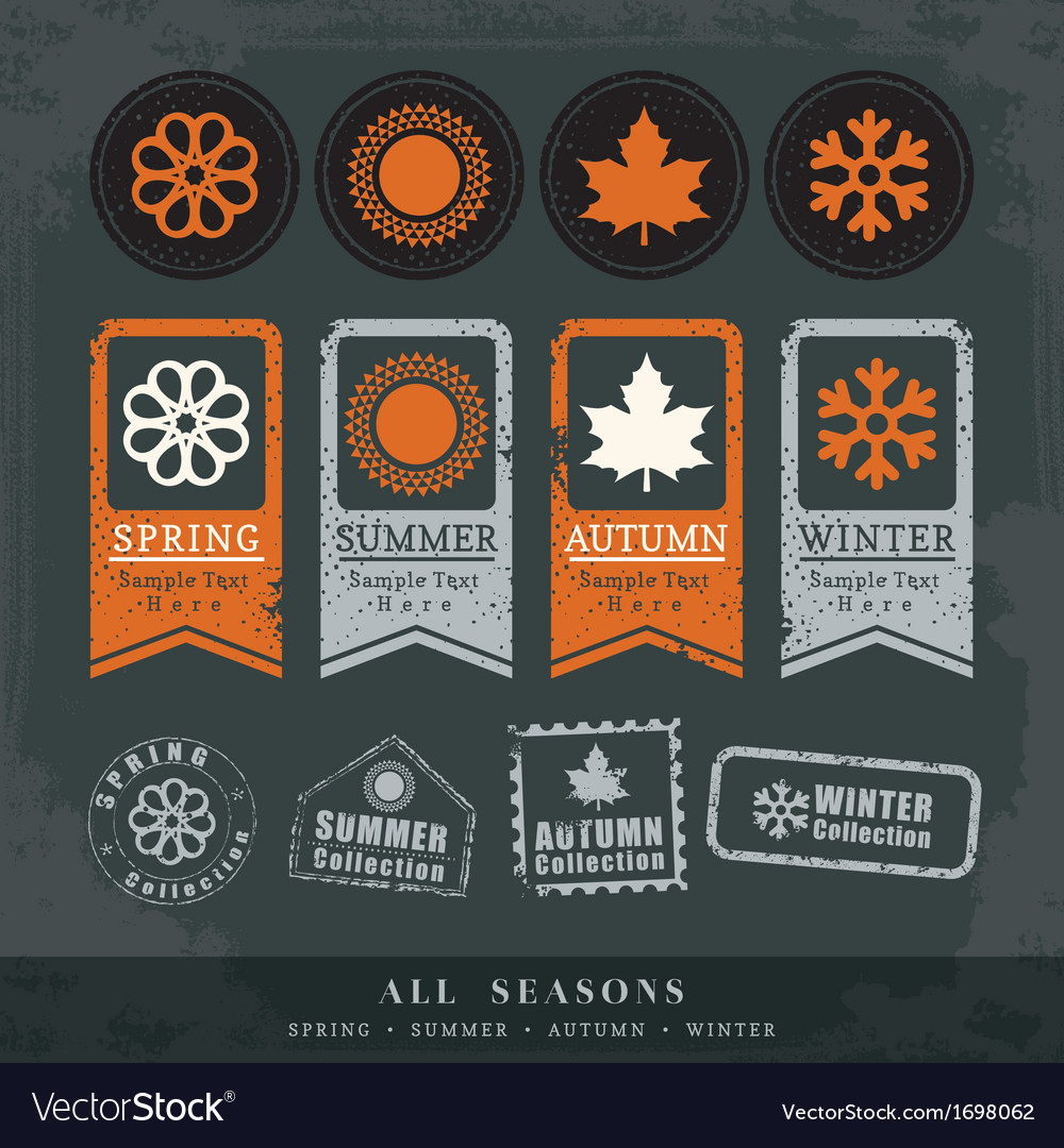Four seasons symbol for stamp label tag sticker vector | Price: 1 Credit (USD $1)