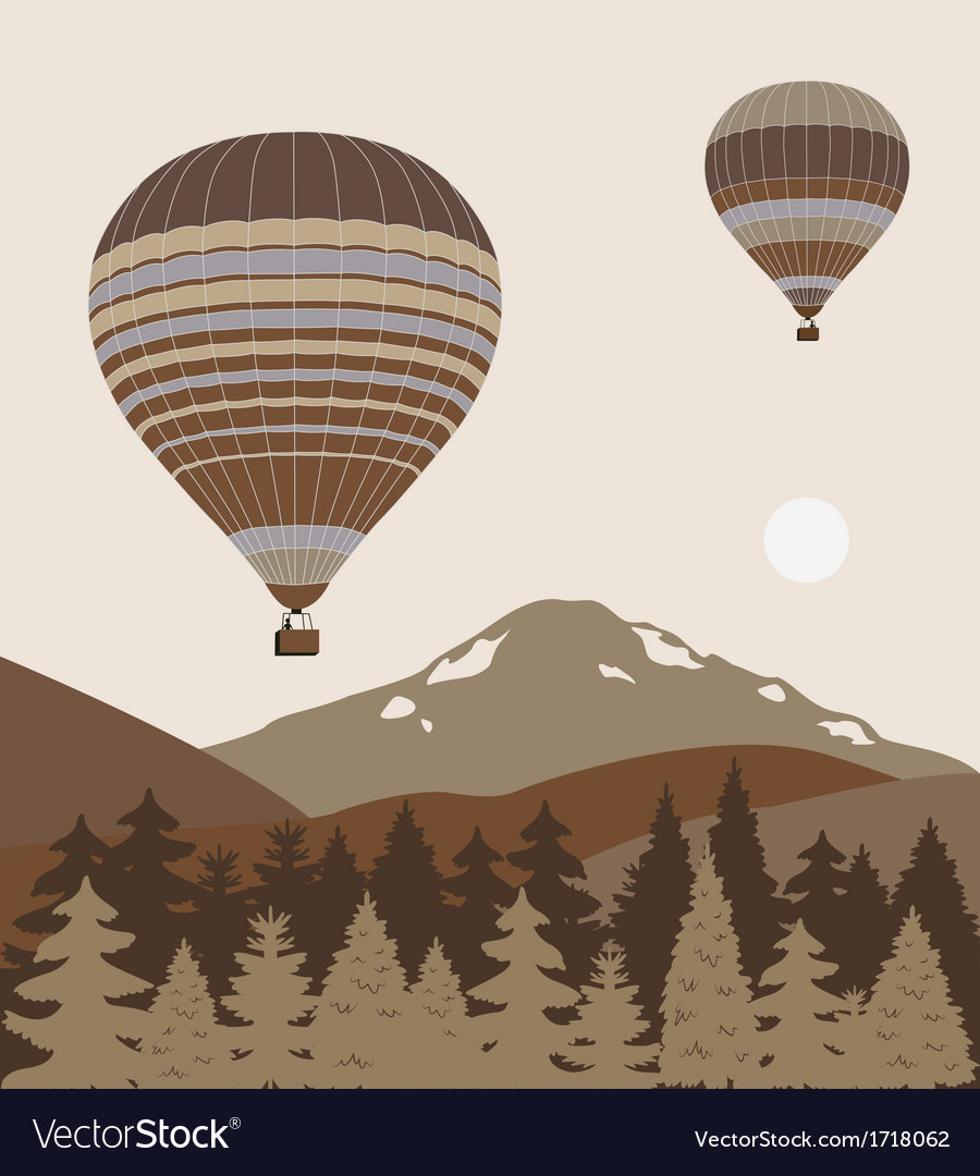 Hot air balloon over forest vector | Price: 1 Credit (USD $1)