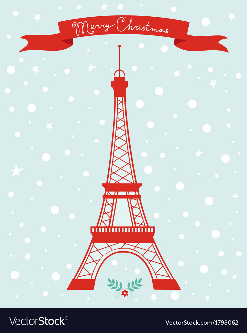 Merry christmas paris vector | Price: 1 Credit (USD $1)