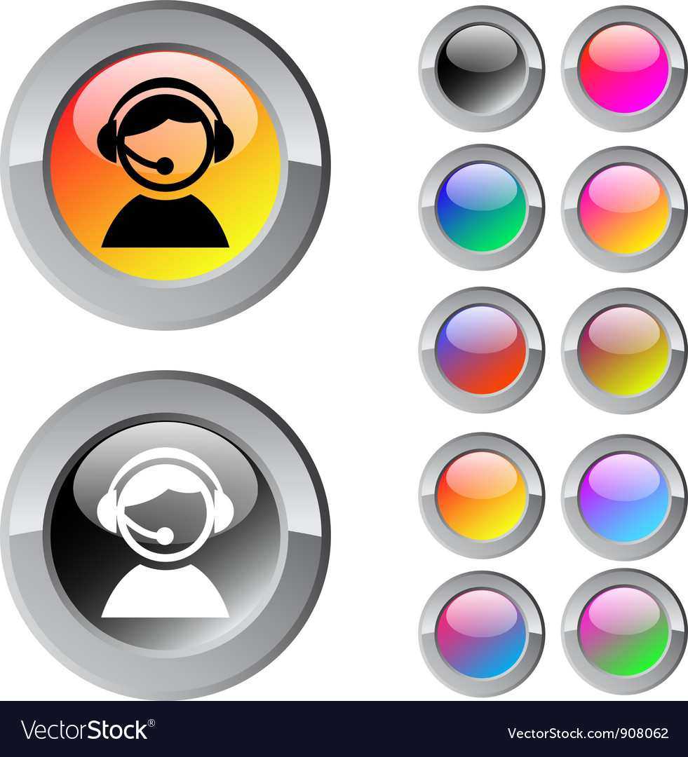 Operator multicolor round button vector | Price: 1 Credit (USD $1)