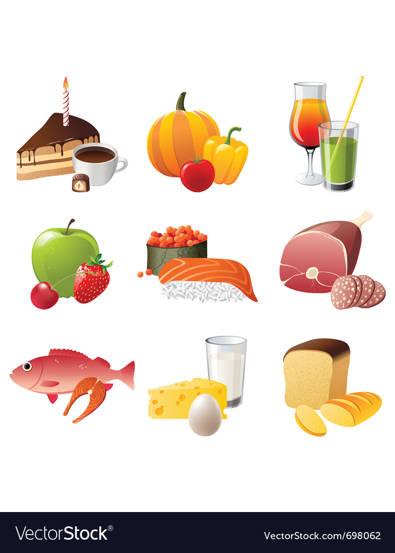 Set of 9 highly detailed food icons vector | Price: 3 Credit (USD $3)