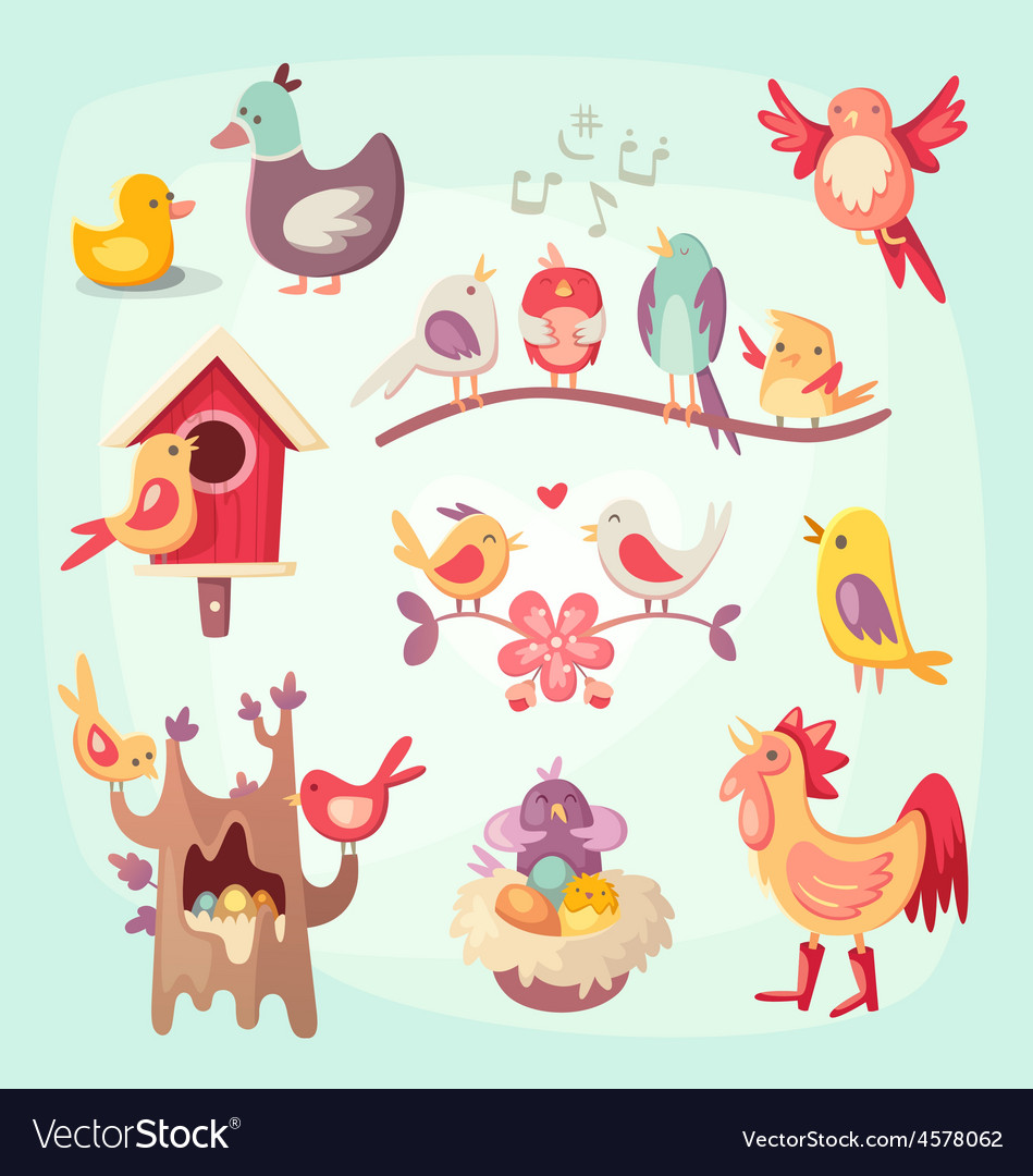 Set of colorful spring birds vector | Price: 5 Credit (USD $5)