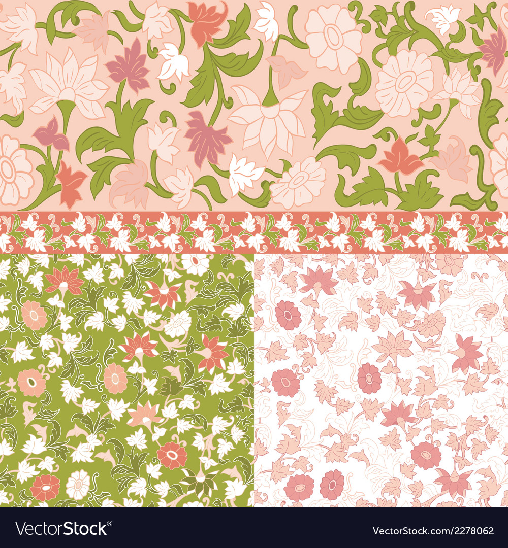 Set of floral seamless borders frames vector | Price: 1 Credit (USD $1)