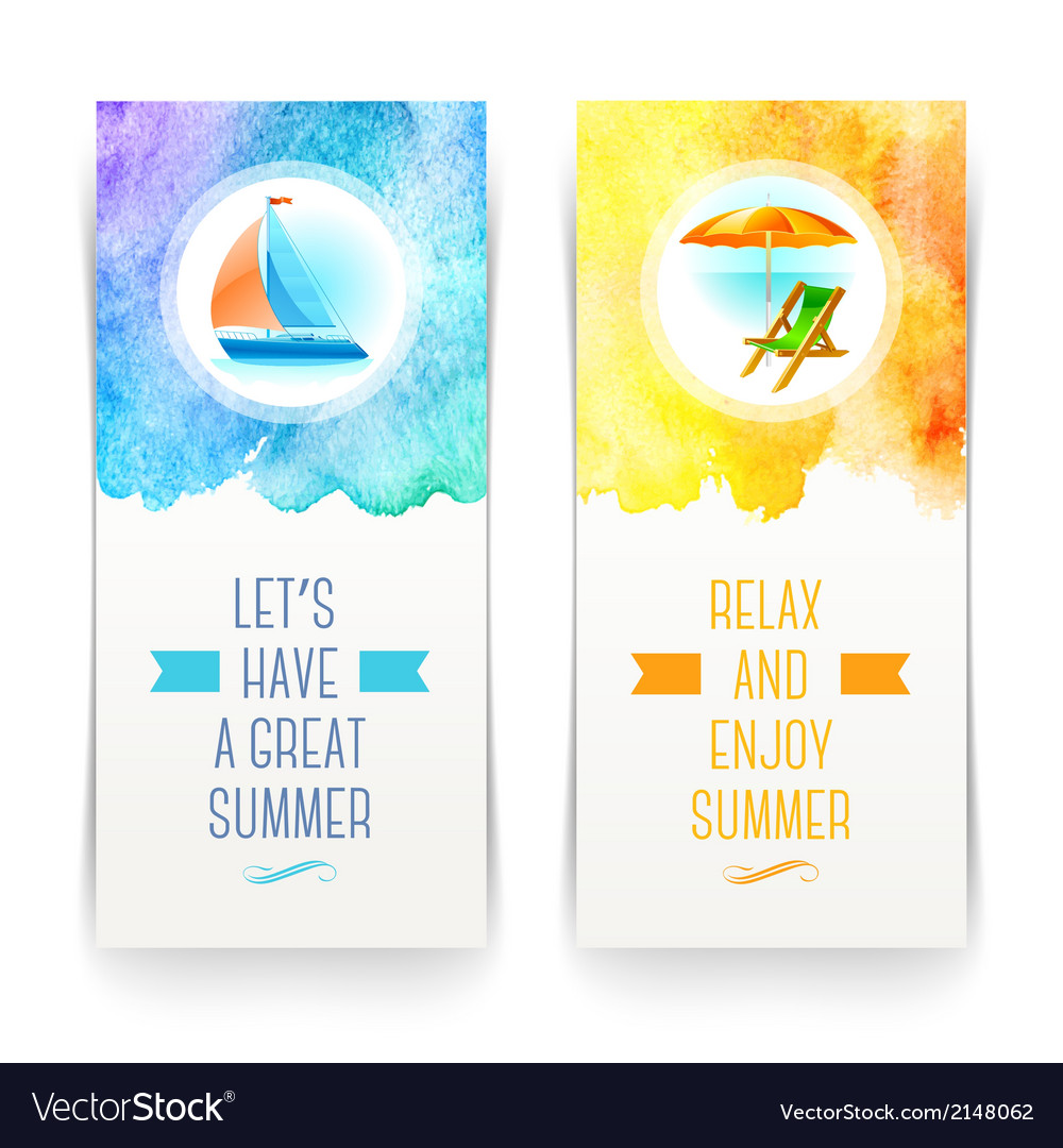 Summer holidays and travel banners with greetings vector | Price: 1 Credit (USD $1)
