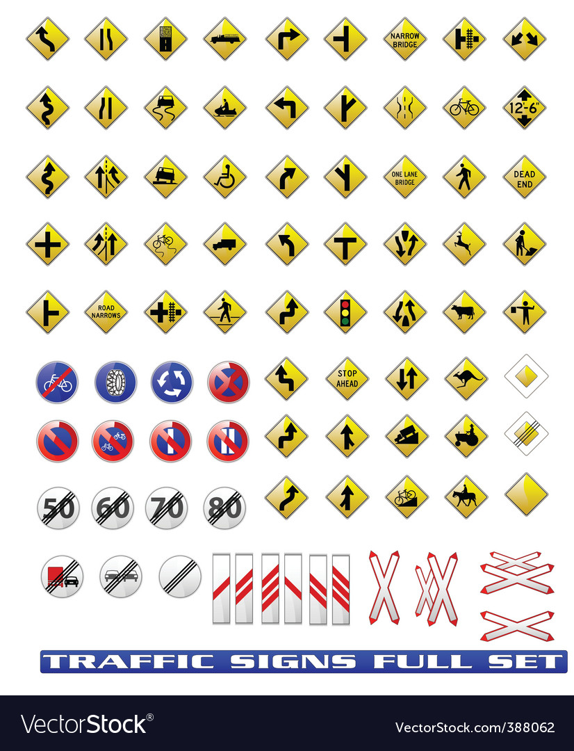 Traffic signs set vector | Price: 1 Credit (USD $1)
