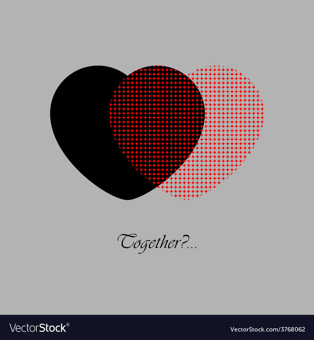 Two red and black hearts with text vector | Price: 1 Credit (USD $1)