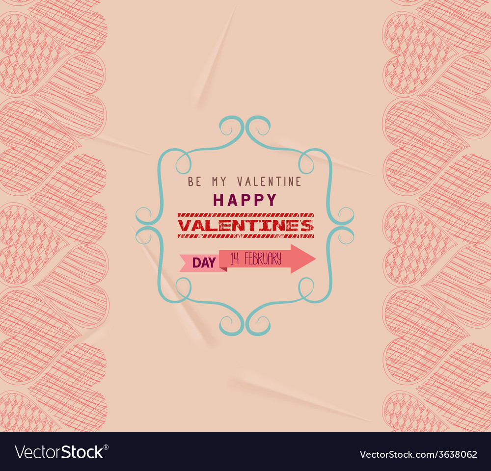 Valentine day greeting card frame retro vector