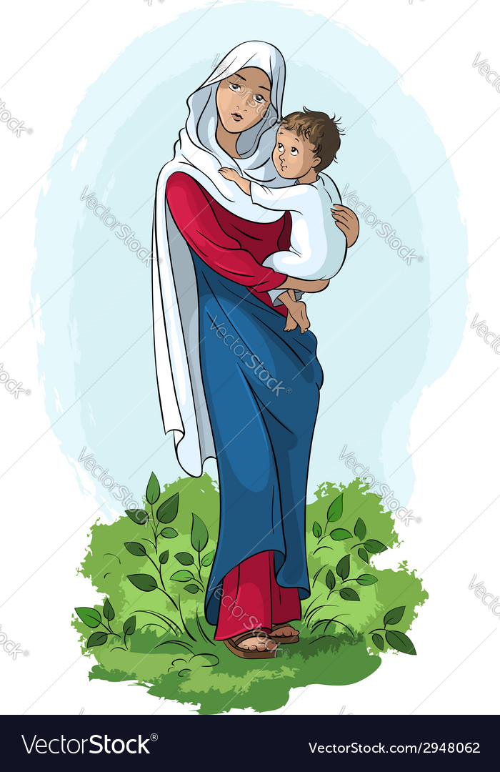 Virgin mary holding baby jesus vector | Price: 5 Credit (USD $5)