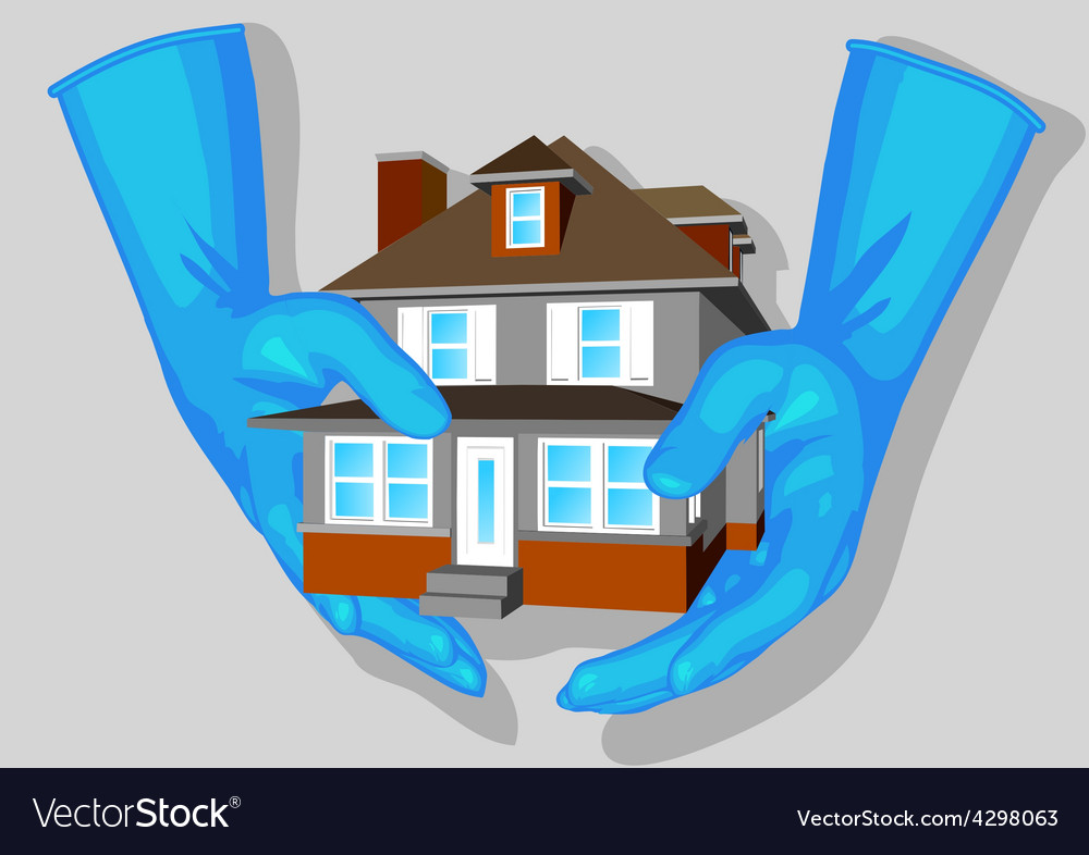 Blue gloves and house vector   Price: 1 Credit (USD $1)