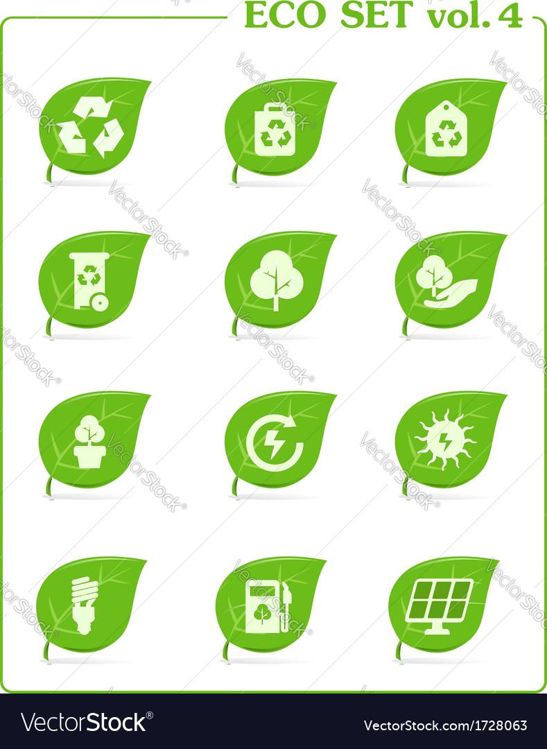 Ecology icon set v4 leaf nature icons vector | Price: 1 Credit (USD $1)