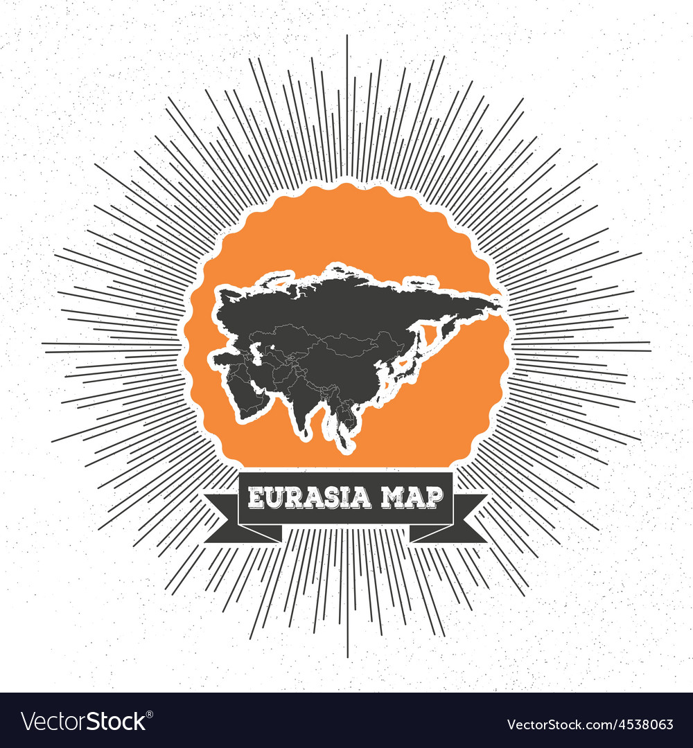 Eurasia map with vintage style star burst retro vector | Price: 1 Credit (USD $1)