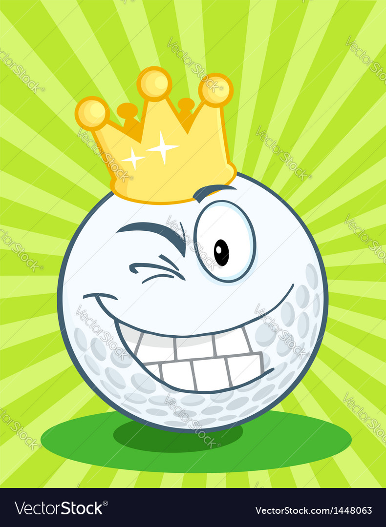 Golf ball character with gold crown winking vector | Price: 1 Credit (USD $1)