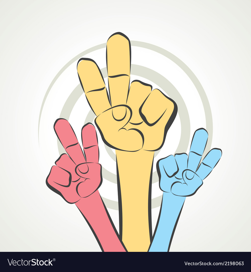 Hand show victory sign vector | Price: 1 Credit (USD $1)