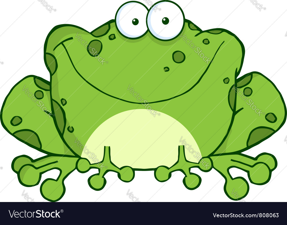 Happy frog cartoon character vector | Price: 1 Credit (USD $1)