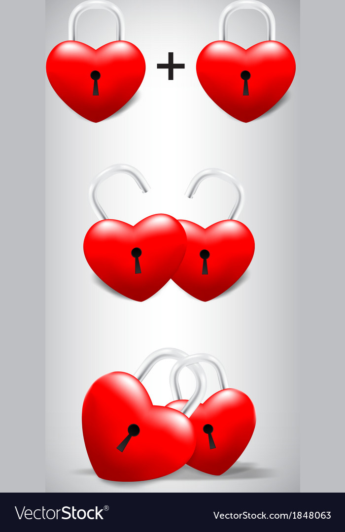 Heart lock collection set vector | Price: 1 Credit (USD $1)