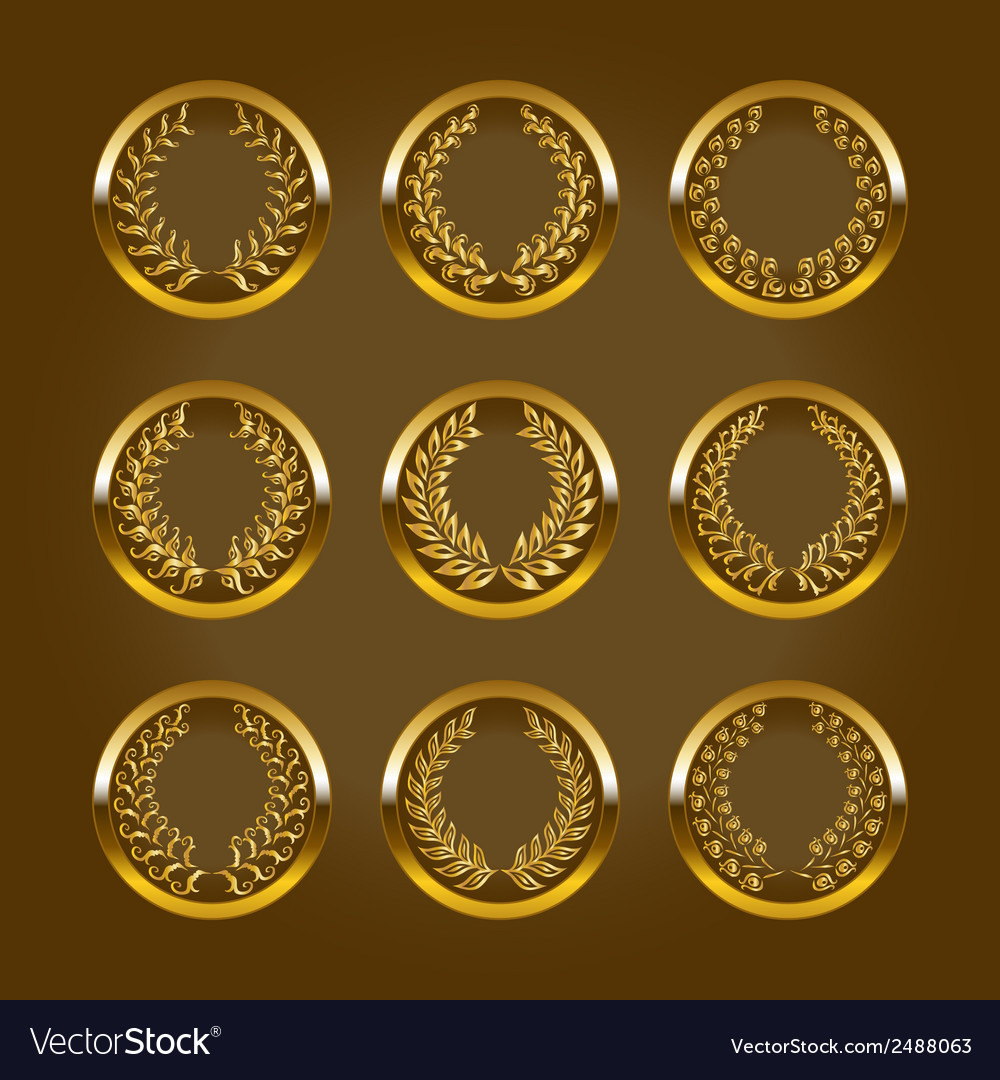Luxury gold labels with laurel wreath vector | Price: 1 Credit (USD $1)