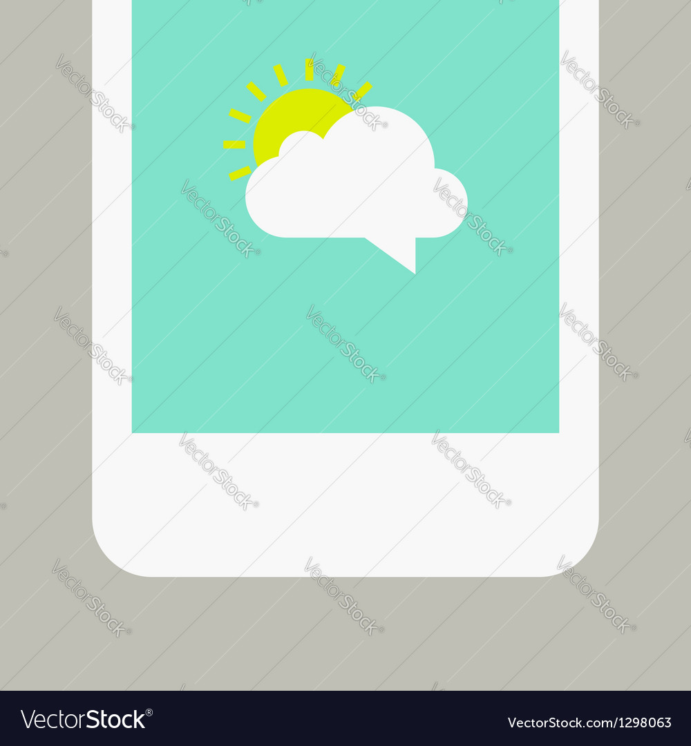 Phone screen with sunny message vector | Price: 1 Credit (USD $1)