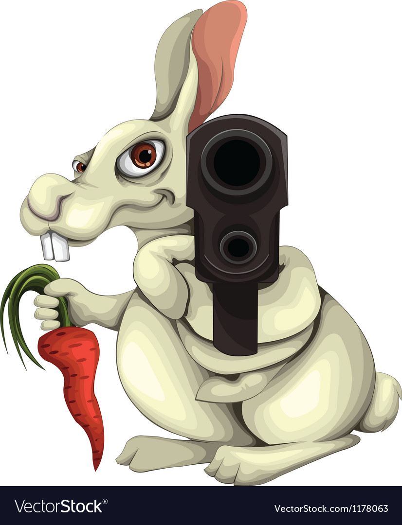 Rabbit with a gun vector | Price: 1 Credit (USD $1)