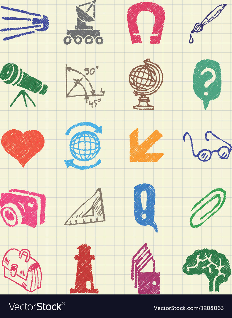 School and education web icons set vector | Price: 1 Credit (USD $1)