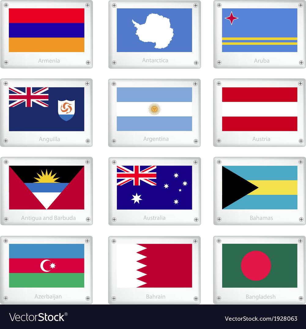 Twelve national flags on metal texture plates vector | Price: 1 Credit (USD $1)