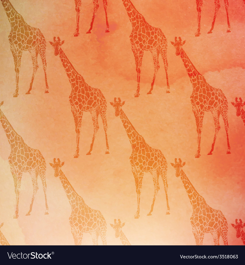 Vintage of giraffes pattern on the watercolor vector | Price: 1 Credit (USD $1)
