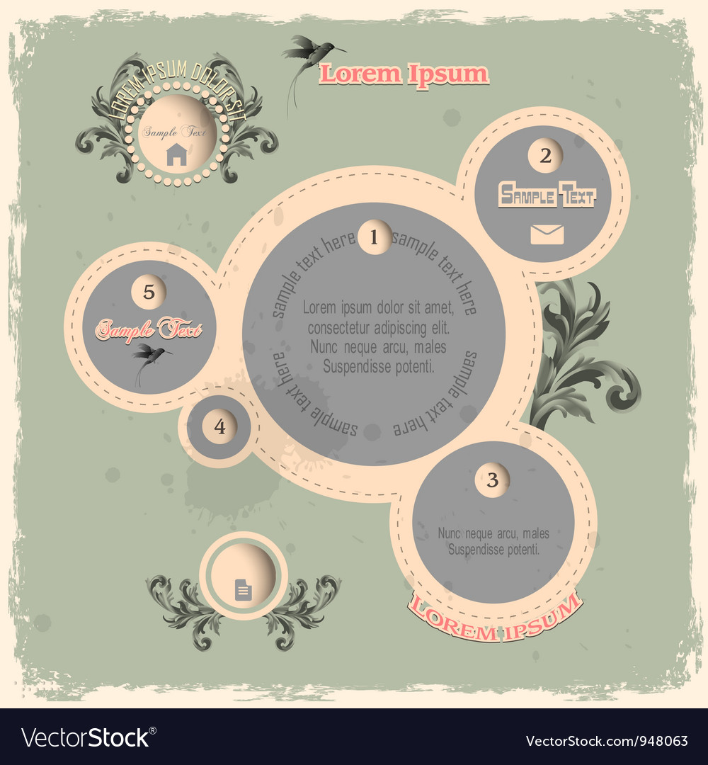Web design bubbles in vintage style vector | Price: 1 Credit (USD $1)
