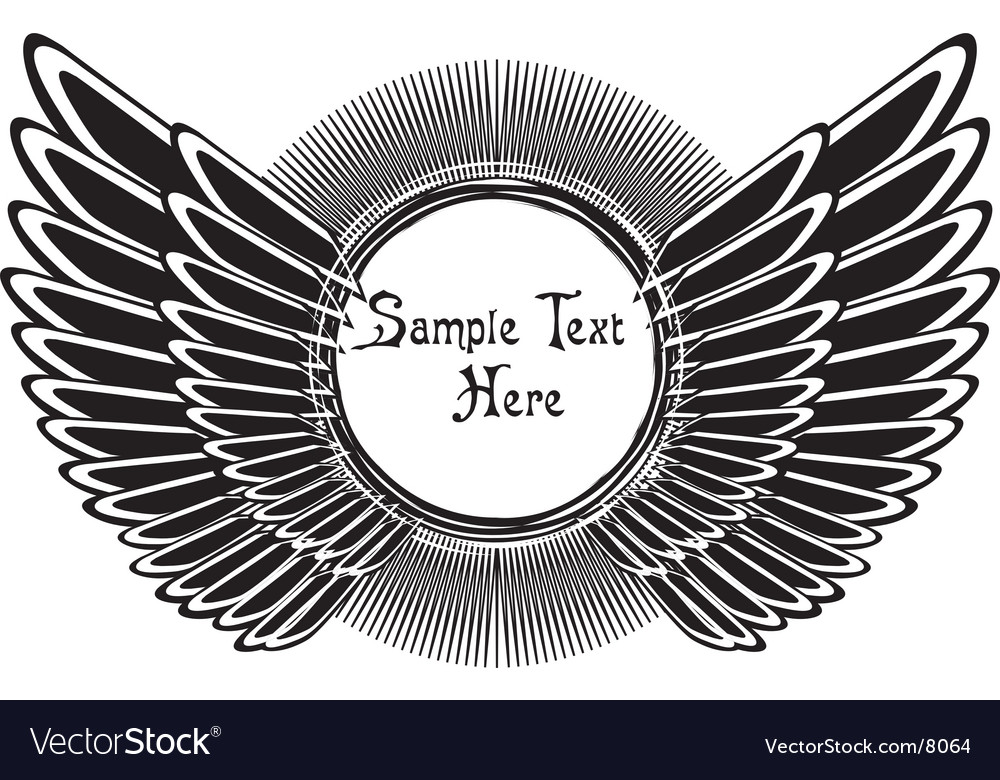Black wings and sun shape vector | Price: 1 Credit (USD $1)