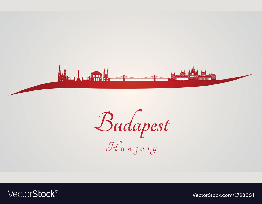 Budapest skyline in red vector | Price: 1 Credit (USD $1)