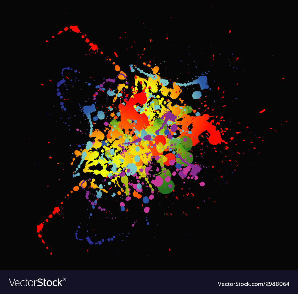 Colourful bright ink splat design with a black bac vector | Price: 1 Credit (USD $1)