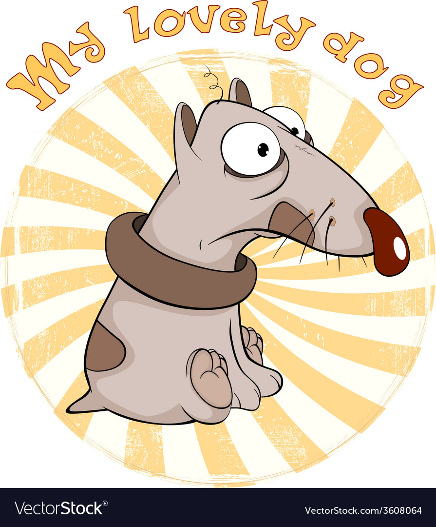 Dog badge cartoon vector | Price: 1 Credit (USD $1)