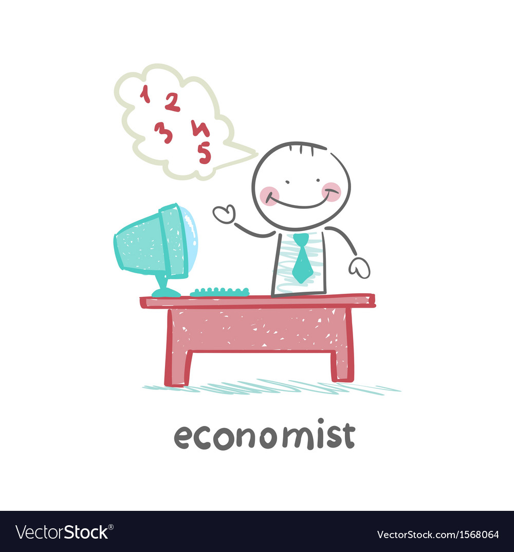 Economist sitting at work vector | Price: 1 Credit (USD $1)