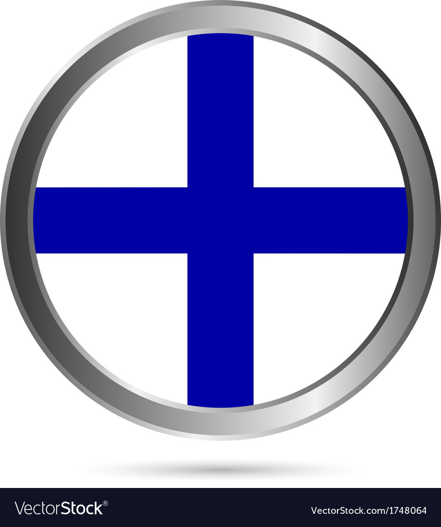 Finland flag button vector | Price: 1 Credit (USD $1)