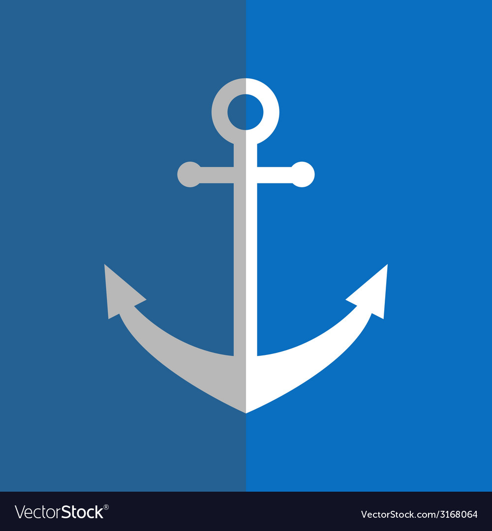 Flat white anchor on blue vector | Price: 1 Credit (USD $1)
