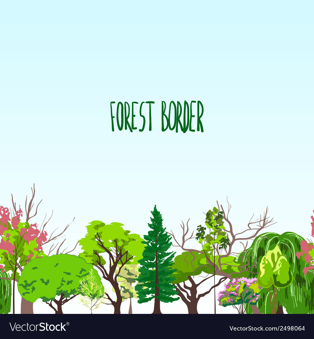 Fotest border trees sketch vector | Price: 1 Credit (USD $1)