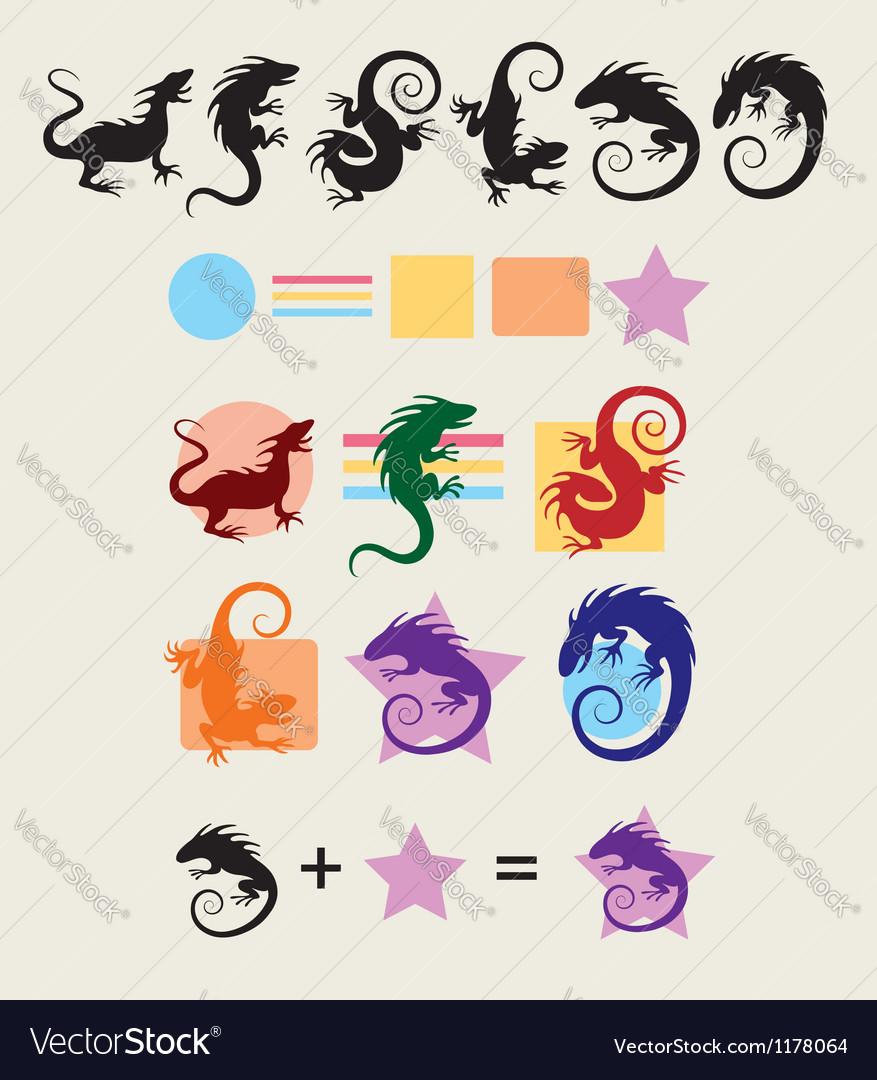 Iguana silhouette symbols vector | Price: 1 Credit (USD $1)