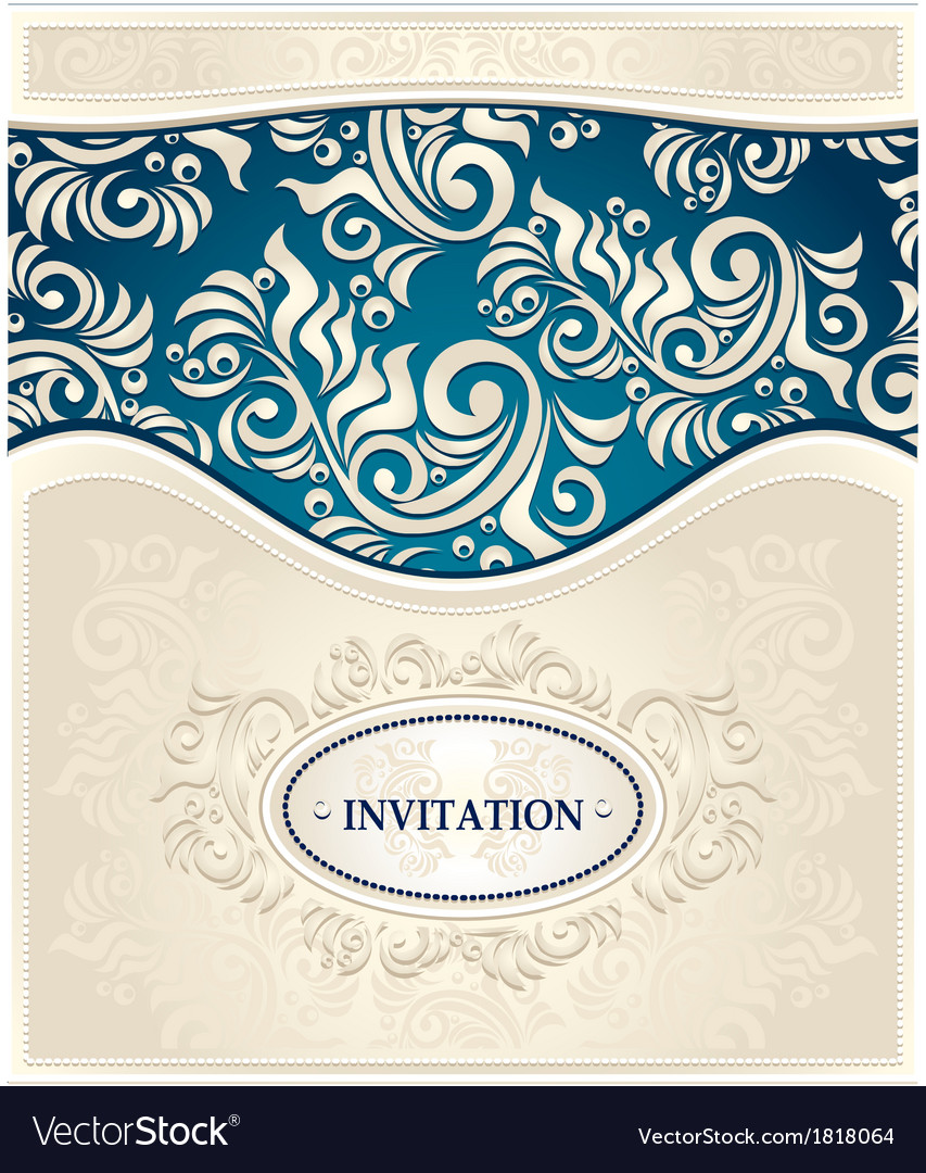 Invitation or frame in dark blue and beige colors vector | Price: 1 Credit (USD $1)