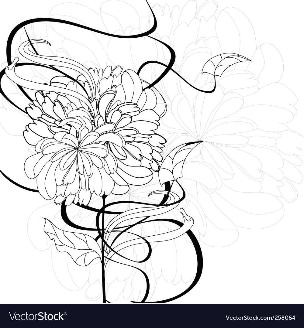 Monochrome floral background vector | Price: 1 Credit (USD $1)