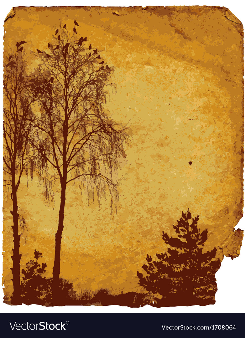 Old worn card with landscape vector | Price: 1 Credit (USD $1)