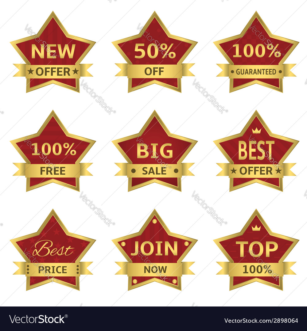 Red stars labels vector | Price: 1 Credit (USD $1)