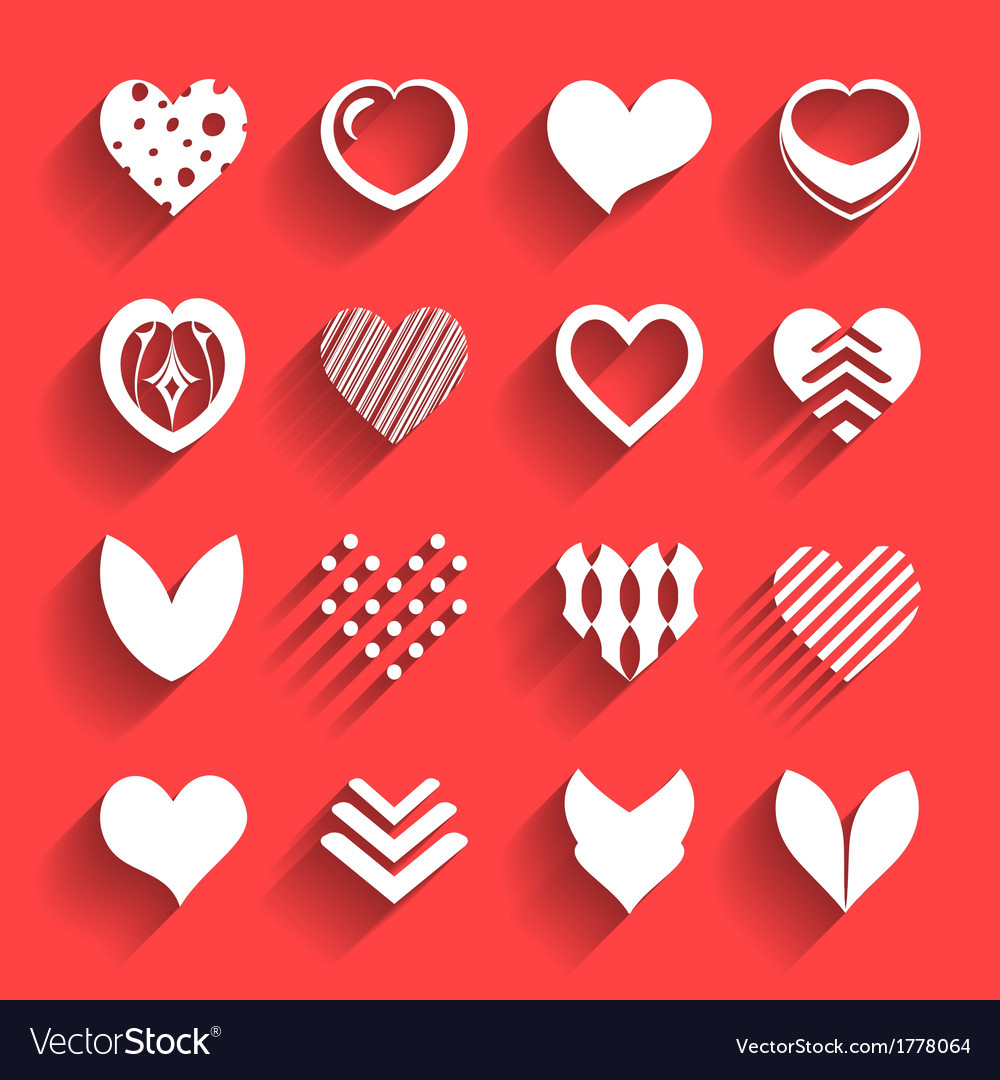 Set hearts with shadow vector   Price: 1 Credit (USD $1)