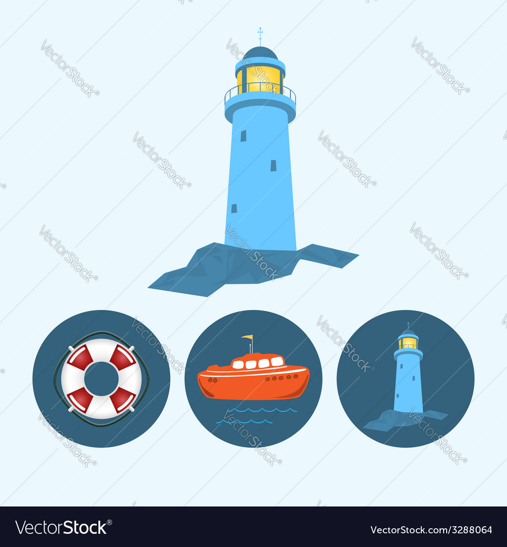 Set icons with boat lifebuoy lighthouse vector | Price: 1 Credit (USD $1)