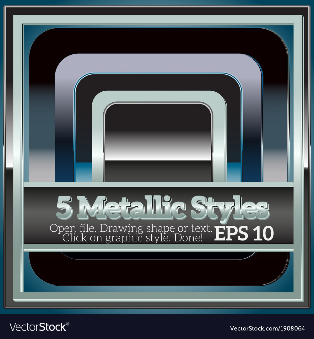 Set of shiny metallic styles for design vector | Price: 1 Credit (USD $1)