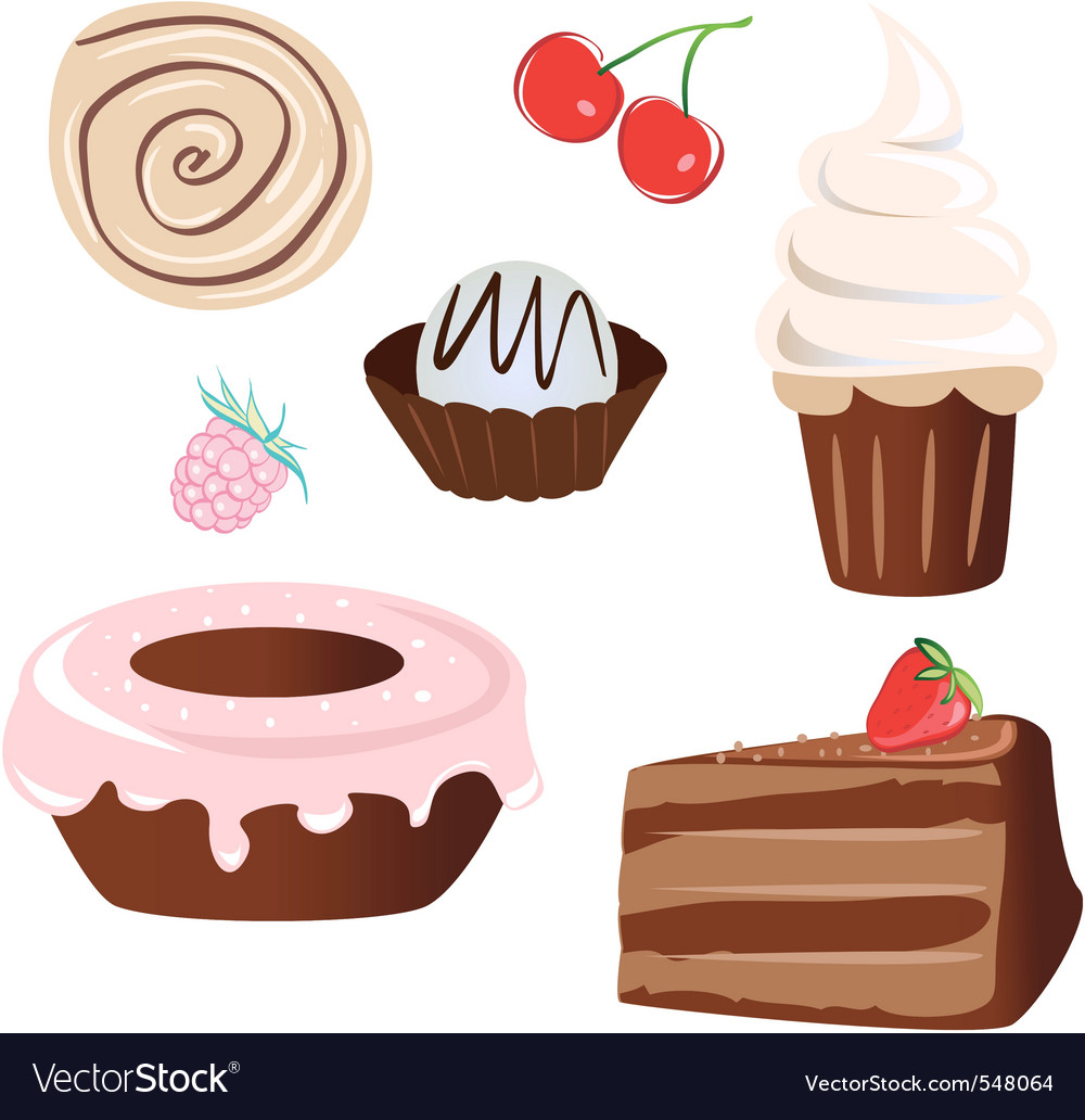 Set of sweet cake vector | Price: 1 Credit (USD $1)