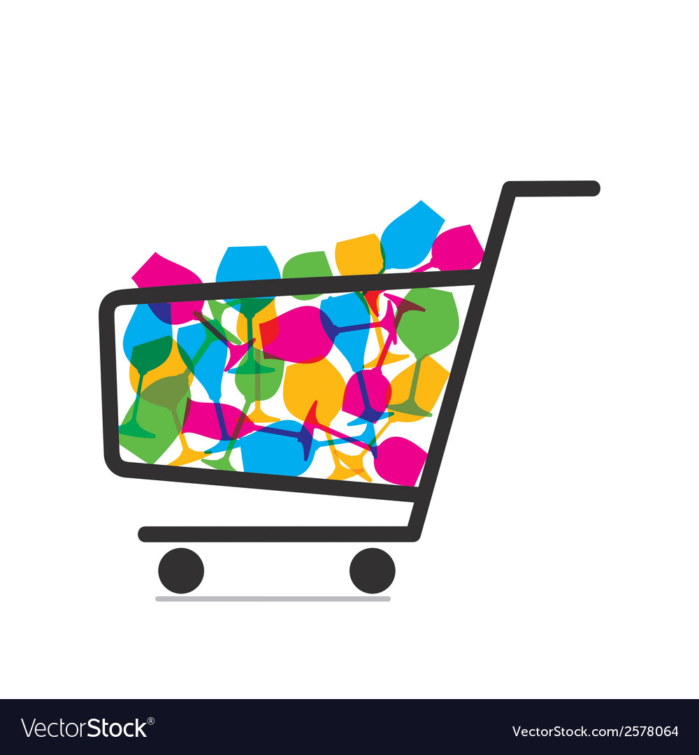 Shopping trolley full of drink glasses vector | Price: 1 Credit (USD $1)